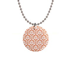 Nectarine Orange Damask Pattern 1  Button Necklace by Zandiepants