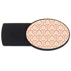 White On Orange Damask 4gb Usb Flash Drive (oval) by Zandiepants