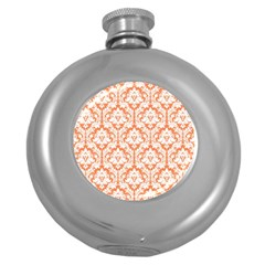 White On Orange Damask Hip Flask (round) by Zandiepants