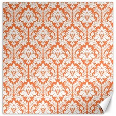 White On Orange Damask Canvas 12  X 12  (unframed) by Zandiepants