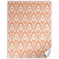 White On Orange Damask Canvas 12  X 16  (unframed) by Zandiepants