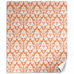 White On Orange Damask Canvas 20  X 24  (unframed) by Zandiepants