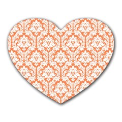 White On Orange Damask Mouse Pad (heart) by Zandiepants