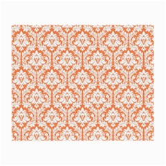 White On Orange Damask Glasses Cloth (small, Two Sided) by Zandiepants