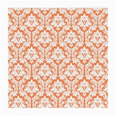 White On Orange Damask Glasses Cloth (medium) by Zandiepants