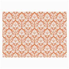 White On Orange Damask Glasses Cloth (large) by Zandiepants