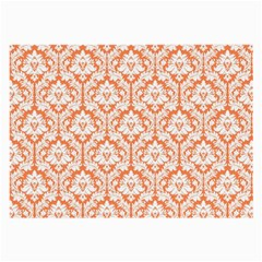 White On Orange Damask Glasses Cloth (large, Two Sided) by Zandiepants