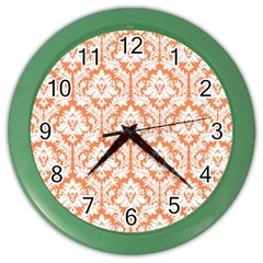 White On Orange Damask Wall Clock (color) by Zandiepants