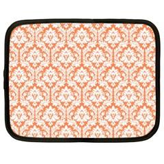 White On Orange Damask Netbook Sleeve (xl) by Zandiepants
