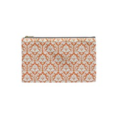 Nectarine Orange Damask Pattern Cosmetic Bag (small) by Zandiepants