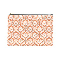 Nectarine Orange Damask Pattern Cosmetic Bag (large) by Zandiepants