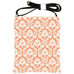 Nectarine Orange Damask Pattern Shoulder Sling Bag by Zandiepants