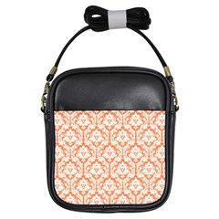 Nectarine Orange Damask Pattern Girls Sling Bag by Zandiepants
