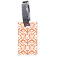 White On Orange Damask Luggage Tag (two Sides) by Zandiepants