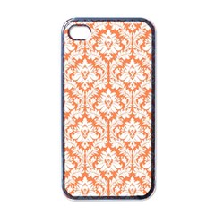 White On Orange Damask Apple Iphone 4 Case (black) by Zandiepants