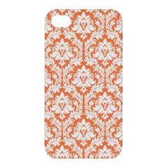 White On Orange Damask Apple Iphone 4/4s Hardshell Case by Zandiepants