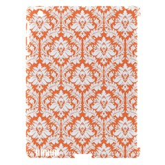 White On Orange Damask Apple iPad 3/4 Hardshell Case (Compatible with Smart Cover) by Zandiepants