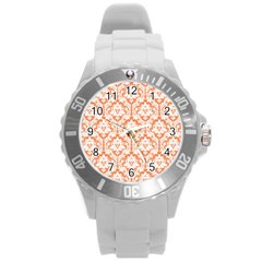 White On Orange Damask Plastic Sport Watch (large) by Zandiepants