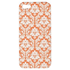 White On Orange Damask Apple Iphone 5 Hardshell Case by Zandiepants