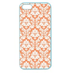 White On Orange Damask Apple Seamless Iphone 5 Case (color) by Zandiepants