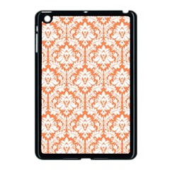 White On Orange Damask Apple Ipad Mini Case (black) by Zandiepants