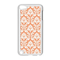 White On Orange Damask Apple Ipod Touch 5 Case (white) by Zandiepants