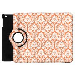 White On Orange Damask Apple Ipad Mini Flip 360 Case by Zandiepants