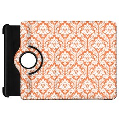 White On Orange Damask Kindle Fire Hd 7  (1st Gen) Flip 360 Case by Zandiepants