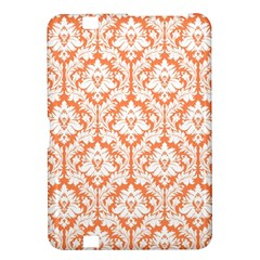 White On Orange Damask Kindle Fire Hd 8 9  Hardshell Case by Zandiepants