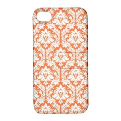 White On Orange Damask Apple Iphone 4/4s Hardshell Case With Stand by Zandiepants