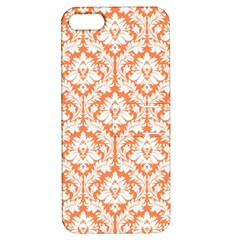 White On Orange Damask Apple Iphone 5 Hardshell Case With Stand by Zandiepants