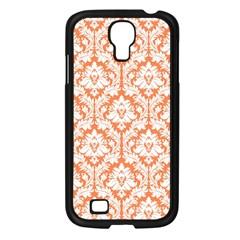 White On Orange Damask Samsung Galaxy S4 I9500/ I9505 Case (black) by Zandiepants