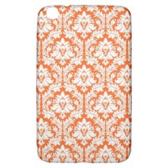 White On Orange Damask Samsung Galaxy Tab 3 (8 ) T3100 Hardshell Case  by Zandiepants