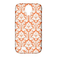 White On Orange Damask Samsung Galaxy S4 Classic Hardshell Case (pc+silicone) by Zandiepants