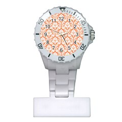 White On Orange Damask Nurses Watch by Zandiepants
