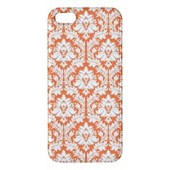 White On Orange Damask Iphone 5s Premium Hardshell Case by Zandiepants