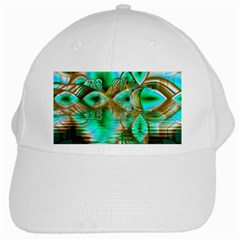 Spring Leaves, Abstract Crystal Flower Garden White Baseball Cap by DianeClancy