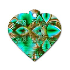Spring Leaves, Abstract Crystal Flower Garden Dog Tag Heart (two Sided) by DianeClancy