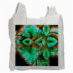 Spring Leaves, Abstract Crystal Flower Garden White Reusable Bag (two Sides) by DianeClancy