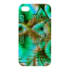 Spring Leaves, Abstract Crystal Flower Garden Apple Iphone 4/4s Premium Hardshell Case by DianeClancy