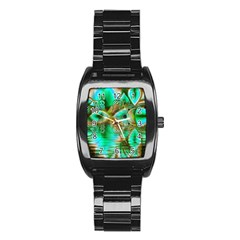 Spring Leaves, Abstract Crystal Flower Garden Stainless Steel Barrel Watch by DianeClancy
