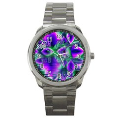 Evening Crystal Primrose, Abstract Night Flowers Sport Metal Watch by DianeClancy