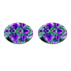 Evening Crystal Primrose, Abstract Night Flowers Cufflinks (oval) by DianeClancy