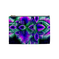 Evening Crystal Primrose, Abstract Night Flowers Cosmetic Bag (medium)
