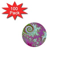 Raspberry Lime Surprise, Abstract Sea Garden  1  Mini Button (100 Pack) by DianeClancy