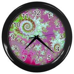 Raspberry Lime Surprise, Abstract Sea Garden  Wall Clock (black) by DianeClancy