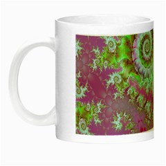 Raspberry Lime Surprise, Abstract Sea Garden  Glow in the Dark Mug by DianeClancy