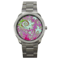 Raspberry Lime Surprise, Abstract Sea Garden  Sport Metal Watch by DianeClancy