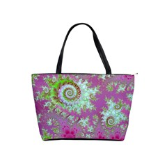 Raspberry Lime Surprise, Abstract Sea Garden  Large Shoulder Bag by DianeClancy