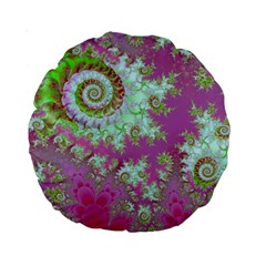 Raspberry Lime Surprise, Abstract Sea Garden  15  Premium Round Cushion  by DianeClancy
